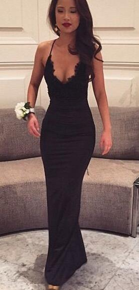 Black Prom Dresses,Sexy Prom Dress,Cheap prom Dress,Lace Prom Dress, Sexy Evening Gown, Mermaid Prom Dresses, Black Party Dresses, V neck Prom Dress, Woman Evening Dress, Long Formal Dresses
