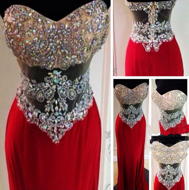 Sweetheart Prom Dress,Wine Red Chiffon Prom Dresses,Sexy Beading Prom Dress,Long Crystal Rhinestone See Through Slim Prom Dress