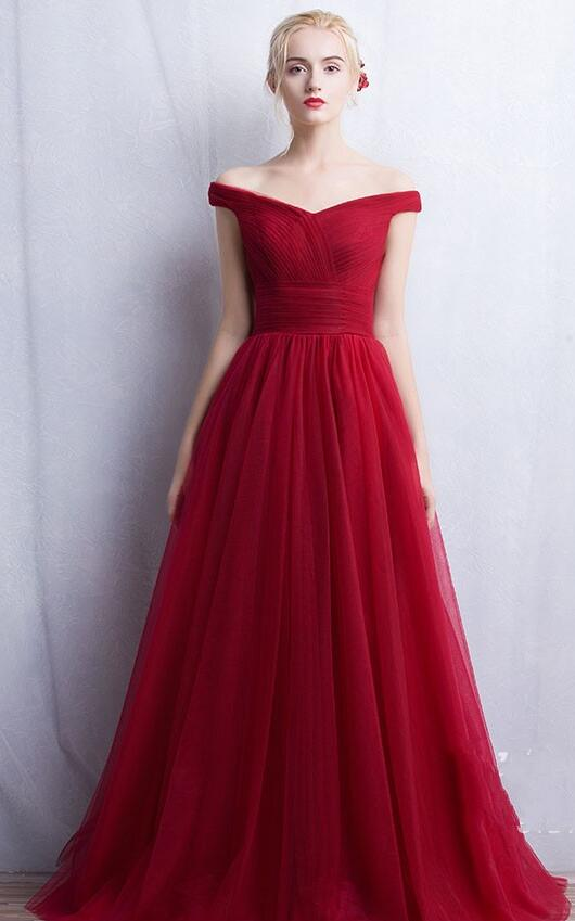Off Shoulder Prom Dress,Tulle Prom Dress,Cheap Prom Dress,Wine Red Prom Dress,Sexy Wine Red Evening Dress,A line Tulle Prom Gown
