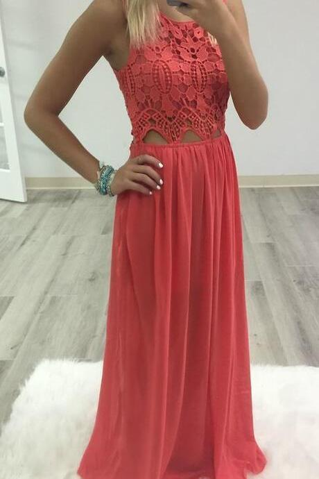 Simple Lace Prom Dress,Cheap Long Prom Dresses,Chiffon Prom Gown,Sexy Prom Party Dress