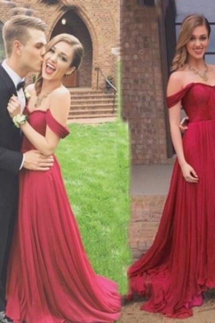 Charming Off Shoulder Sexy Prom Dress,Chiffon prom Dress,Long Prom Dresses,Long Evening Dress,Formal Gowns