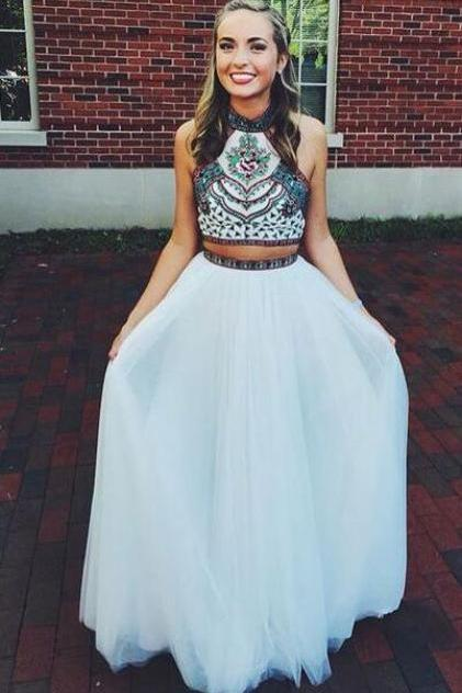 Cheap Chiffon Prom Dresses,Beading Chiffon Evening Dress,Two Piece Prom Gowns with Halter Neck