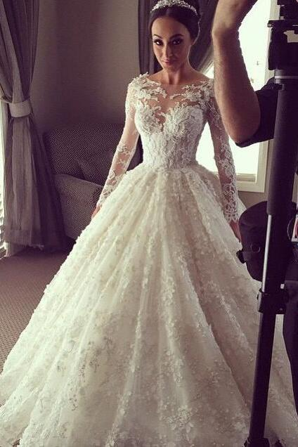 Illusion Long Sleeves Wedding Dress,Beautiful Cheap Lace Wedding Dress,Ball Gown Wedding Dress,Wedding Dress Cheap,Bridal Dress For Wedding