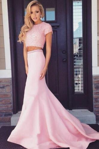 Sexy Two Pieces Prom Dress,Charming Beading Prom Dresses, Elegant Beading Floor-Length Evening Dresses,pink Prom Dresses, Prom Dresses