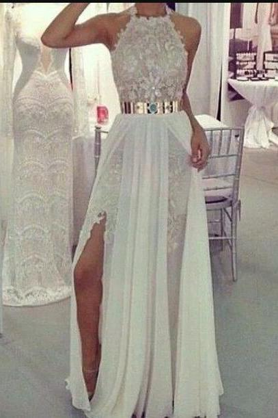 Cheap Lace Sexy Prom Dress, A line prom Dress,Long Prom Dress, White Prom Dress, Formal Prom Dress ,Chiffon Prom Dress, Cheap Prom Dress