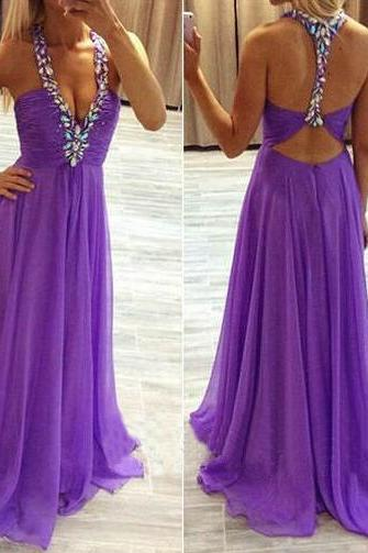 Sexy Purple prom Dress,Cheap Prom Dress,Long Chiffon Prom Dresses with Crystals
