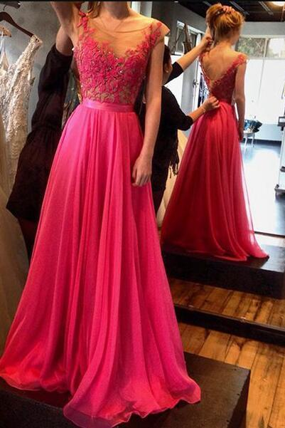 A-line long prom dresses, Cheap Lace Prom Dress,round neck chiffon lace long evening dresses, formal dress
