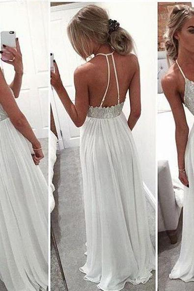 Perfect Beading white long prom dress,Long Chiffon Prom Dress,backless long formal gown,Sexy evening dress