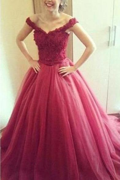 wine red tulle long prom dresses,lace-up evening dress,formal dress,Sweetheart long prom dresses
