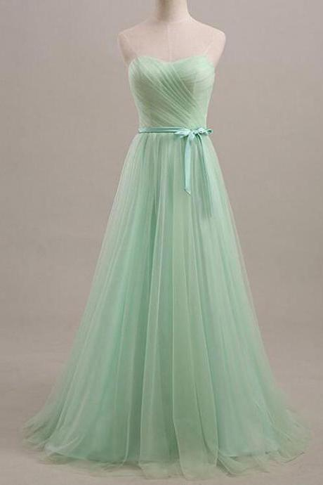 Beauty Mint green prom dress,Cheap Prom Dress,A-line tulle prom dresses,strapless prom dress, brief prom dress