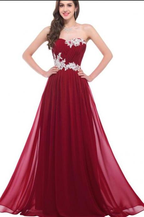 Beauty Burgundy Prom Dress,A line Chiffon Prom Dress, Empire Waist Evening Gowns,Sexy White Lace Wine Red Long Prom Dresses,Graduation Dress