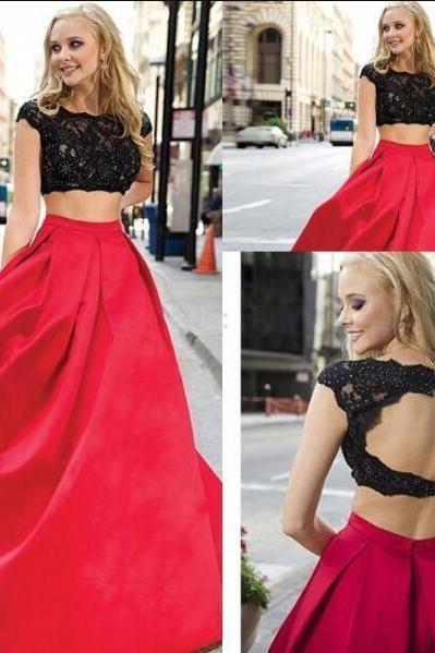 Lace Red 2 Pieces Prom Dresses,Sexy Cap Sleeves Backless Prom Dress,Two Pieces Open Back Evening Gowns,High Neck Long Prom Gowns,Fashion Woman Dress