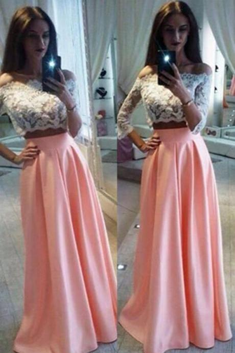 Pink Two piece prom dress,Sexy prom dress plus size,prom dress with sleeves,prom dress,prom dresses long