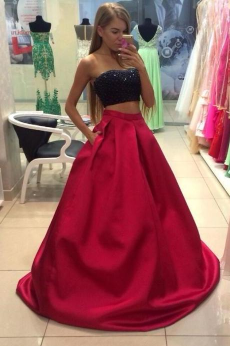 Black Red Two Piece Prom Dresses,A Line Prom Gown,2018 Prom Dress,Sexy Beads Prom Gowns,Homecoming Dresses,Beads Top Prom Dance Dress