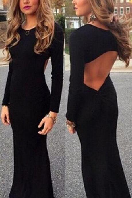 Black Prom Dress,Simple Prom Dress,Backless Prom Dresses,Sexy Evening Gowns,Open Back Long Sleeves Dress For Teens