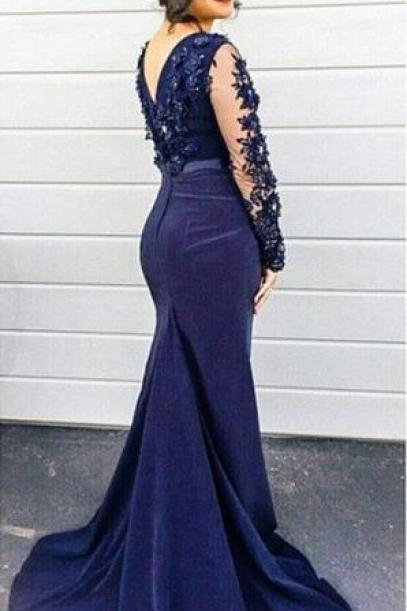 Navy Blue Prom Dresses,Lace Appliques Prom Dress,Mermaid Prom Dresses,Formal Gown,Mermaid Evening Gowns,Navy Blue Long Train Evening Dress,Long Sleeves Evening Gowns