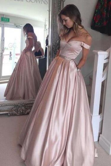 Off the Shoulder Prom Dress, Beauty Ball Gown Prom Dress, Pearl Pink Prom Dress, A-line Prom Gown, Princess Party Dress, Senior Prom Dress, Long Evening Dress With Pocket