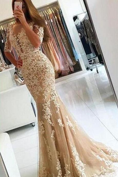 Mermaid Appliques Prom Dress,Charming Lace Prom Dresses, Half Sleeves Prom Dresses,Sexy Lace Prom Dresses, Long Lace Evening Dress, Formal Women Dress, Prom Dress