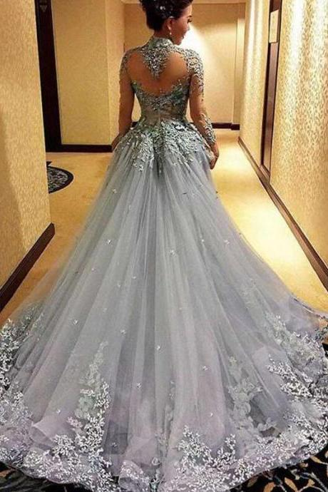 Mermaid Prom Dress, Cheap Princess Prom Dresses, Long Sleeves Prom Dress, Tulle Evening Dress, Gray Evening Dresses, Long Formal Dresses, Prom Dress
