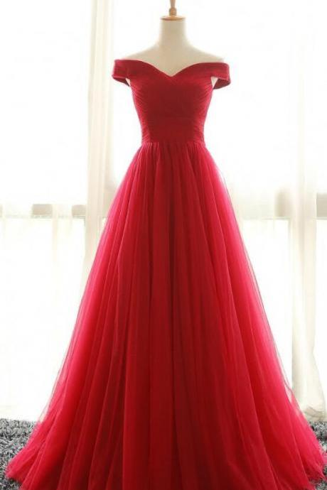 Off the Shoulder Prom Dresses, Tulle Prom Dress,Cheap Prom Dress,Red Prom Dress, A Line Evening Dresses, Pleated Prom Gown, Long Party Dresses, Red Formal Dresses