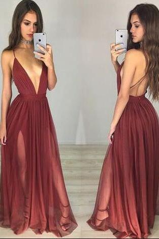 Spaghetti Straps Prom Dresses,Chiffon Prom Dress,Cheap Prom Dress,Sexy Prom Dresses,Red Prom Dress, A Line Evening Dress, Sexy Party Dress