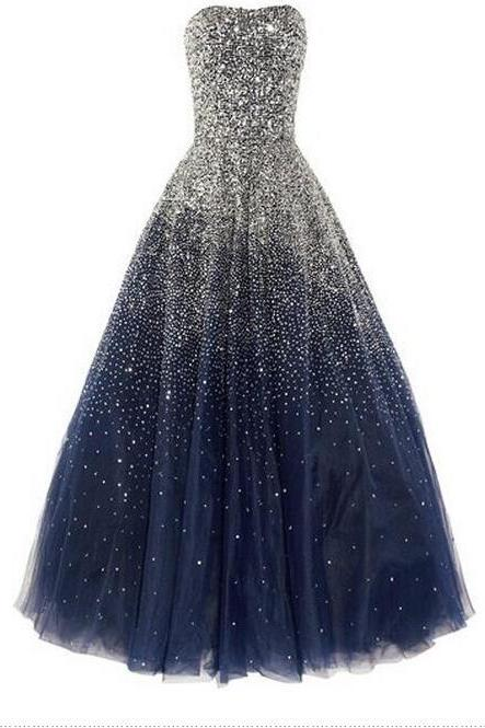 A-Line Prom Dresses, Sexy Prom Dress,Navy Blue Prom Dress 2018, Beading Prom Dresses, Ball Gown Prom Dress,Tulle Formal Dresses,Evening Dresses