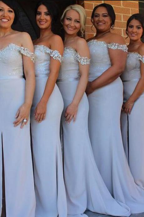 Long Bridesmaid Dresses,Off the Shoulder Bridesmaid Gowns,2018 Bridesmaid Dress,Vintage Bridesmaid Gowns,Custom Made Prom Dresses