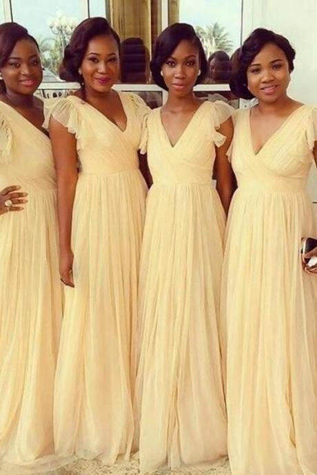 Cap Sleeves Daffod Bridesmaid Dresses, Cheap Bridesmaid Dress, Chiffon Bridesmaid Dress,V Neck Bridesmaid Dresses,Custom Made Cheap Bridesmaid Gowns,Long Prom Dresses, Wedding Party Dresses,Graduation Dresses,Formal Women Dresses