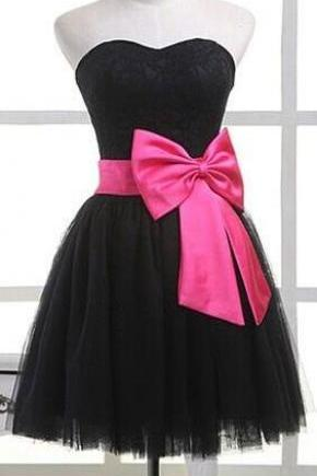 Black Elegant Short Homecoming Dress,Hot Pink Bow Belt Short Prom Dresses,Custom Made Party Dress,Graduation Dresses,Cheap Cocktail Dress,Sweet 16 Dresses