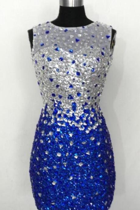 Silver Crystals Rhinestones Mermaid Homecoming Dresses,Royal Blue Prom Dress,High Neck Sheath Short Homecoming Dresses,Backless Short Prom Dresses ,Graduation Dress,Open Back Cocktail Dresses