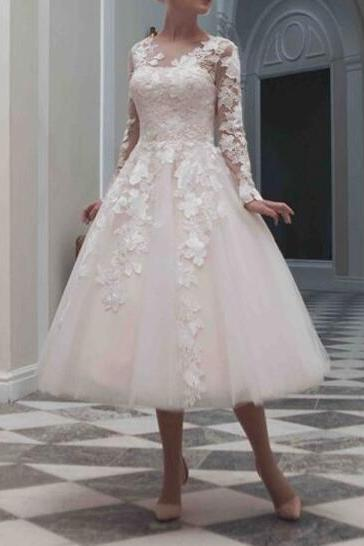 Long Sleeves Tea Length Wedding Dresses,Vintage V Neck Wedding Dress,Short Wedding Dress, A Line Bodice Custom Made Lace Short Wedding Gown,Beach Bridal Dress