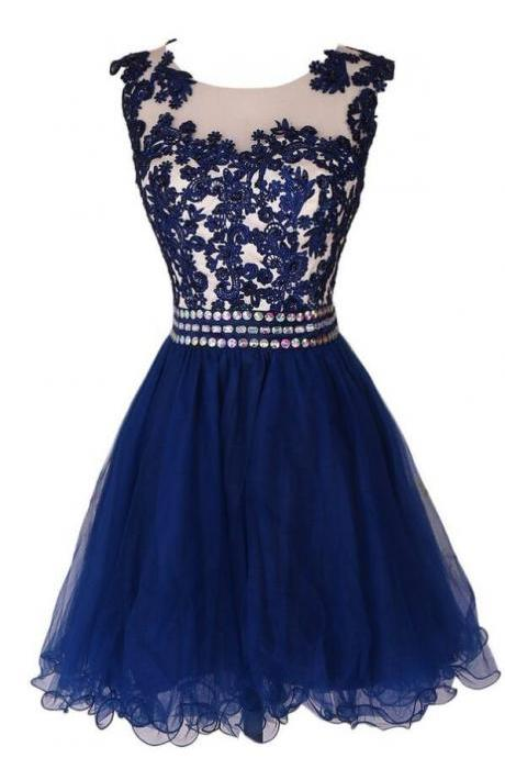 Navy Blue Homecoming Dress,Lace homecoming Dress, Short Prom Dress Homecoming Dresses With Waist Beadings,Royal Blue Custom Made Mini Length Wedding Party Dress Gown Women Skirt
