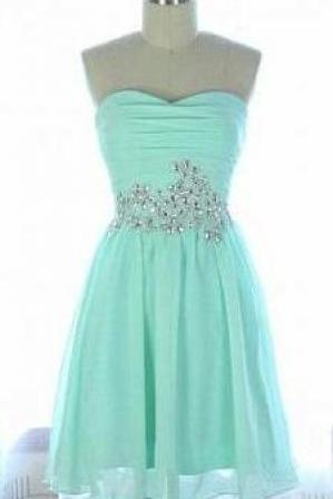 Sweetheart Mint Chiffon Short Prom Dress,A Line Simple Beaded Prom Dress, Cheap Prom Dress, Cheap Custom Made Homecoming Dress, Communion Party Dress, Graduation Dress