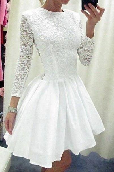 White Lace Taffeta Skirt Short Wedding Dress ,Long Sleeves Prom Dress, High Neck See Through Back Above Knee Length Bridal Wedding Gowns ,Mini Length Homecoming Dresses ,Short Prom Dress ,Bridal Wedding Dresses