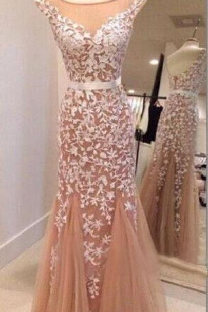 long trumpet prom dress online, Hot sales white lace mermaid prom dress, blush pink prom dress,cap sleeves evening dress,mermaid evening gown,prom gown
