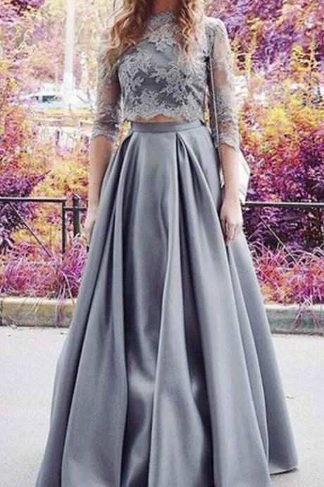 Two Pieces Prom Dresses, Lace Prom Dress, A Line Prom Dress, Sexy Prom Dresses,Long Evening Dress, Elegant Prom Dress,Prom Dress