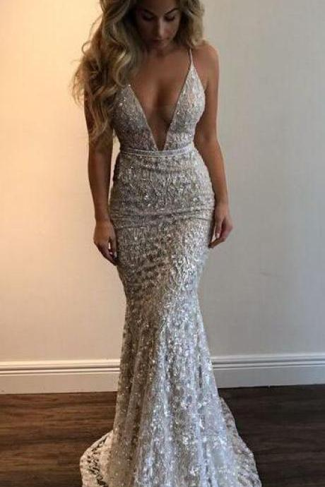 Mermaid Stunning Prom Dress,Sexy Prom Dress,Long Evening Dress, Spaghetti Straps Evening Dress,Beading Party Dress,Prom Dresses,V-neck Prom Dress,Sexy Evening Dress
