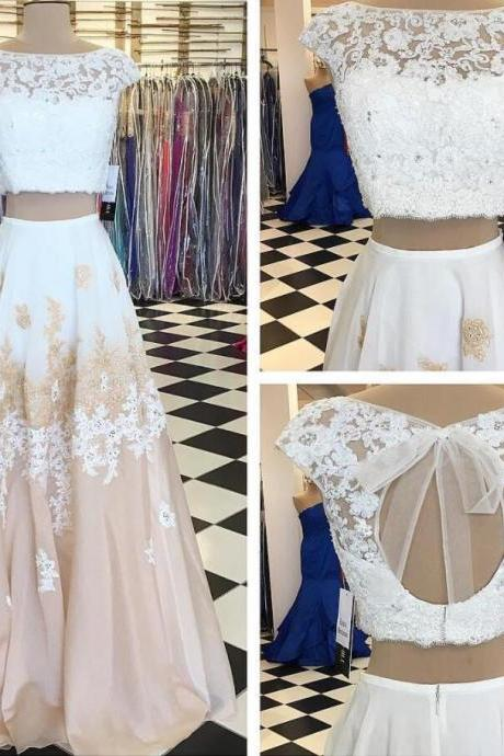 Two Piece Prom Dresses, A-line Prom Dress,Lace Long Prom Dress with Open Back,Lace Prom Dresses,Elegant Prom Gown,Prom Dress