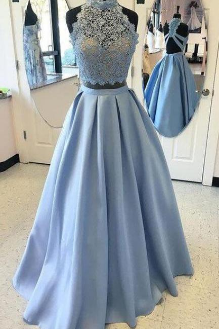 Two Pieces Prom Dresses, Blue Lace Long Prom Dress, Sexy Prom Dress, A-line Prom Dress, Backless Prom Party Dress, Sexy Evening Dress, 2 Pieces Prom Dresses, Senior Prom Dress