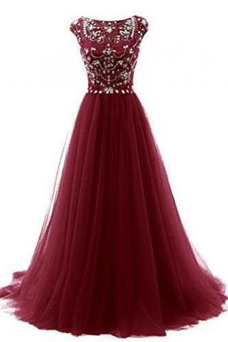 Tulle Prom Dress, Beading Prom Dress,Burgundy Prom Dresses,Wine Red Evening Gowns,Sexy Formal Dresses,Tulle Prom Dresses,Long Evening Gown,Beading Evening Dress