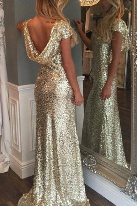 Beauty Cap Sleeves Prom Dress,Luxurious Gold Sequins Prom Dresses, Long Prom Dress with Train,Sexy Prom Dress,Woman Evening Dresses,Bling Party Dresses