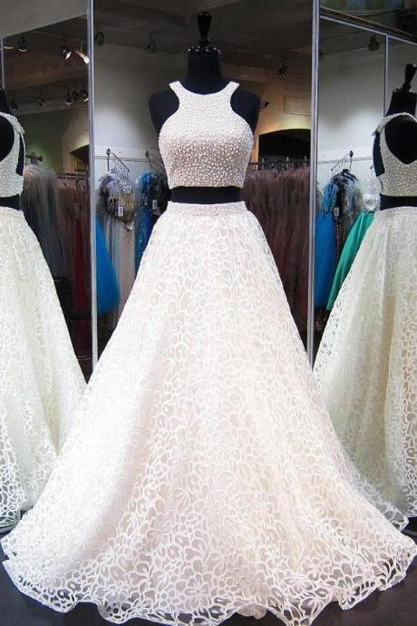 Sexy Lace Prom Dress, Ball Gown Prom Dresses,Lace Prom Dresses,Tulle with Pearl Prom Dress,Beading Prom Dresses,Two Pieces Prom Dresses