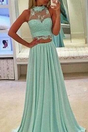 Long Prom Dresses,Two Piece Prom Dresses,Halter Neckline Prom Dress,Green Prom Dress,Lace Prom Dresses,Prom Dress