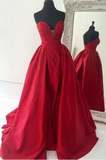 Sweetheart Prom Dresses,Cheap Mermaid Prom Dress, Red Prom Dresses,Satin Long Prom/ Dresses,Red Evening Dress,Ball Gown Prom Dresses