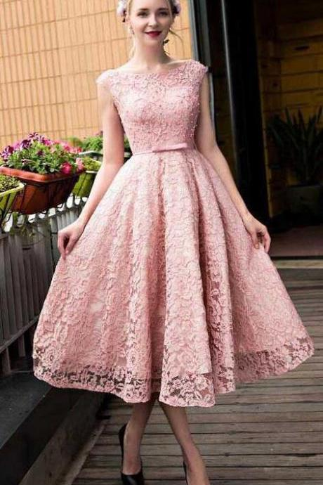 Scoop Neck Homecoming Dresses,A Line Homecoming Dress, Lace Homecoming Dresses,Tea-length Homecoming Dress, Pink Homecoming Dresses, Short Prom Dresses,Cute Homecoming Dress,Short Homecoming Dress