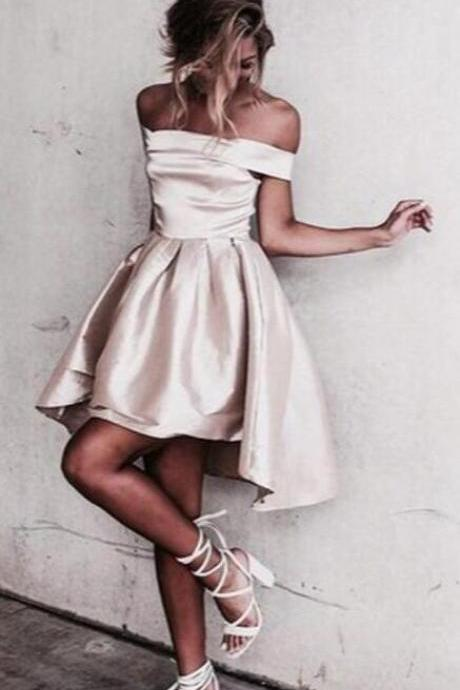 Champagne Homecoming Dresses,Sexy Prom Dress,Off the Shoulder Homecoming Dress,Short Sleeves Homecoming Dresses,Pleats Homecoming Dresses, High Low Prom Dresses,Short Homecoming Dress