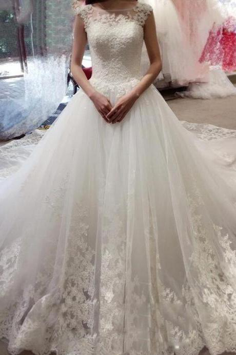Sleeveless Lace Wedding Dress,Mermaid Wedding Dress With Appliques,Cheap Wedding Dress, Princess Wedding Dresses With Court Train, Tulle Wedding Dresses,Wedding Dress