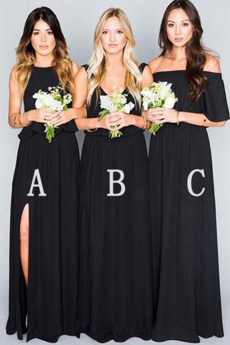 Custom Made Black Chiffon Mismatched Floor Length Bridesmaid Dresses