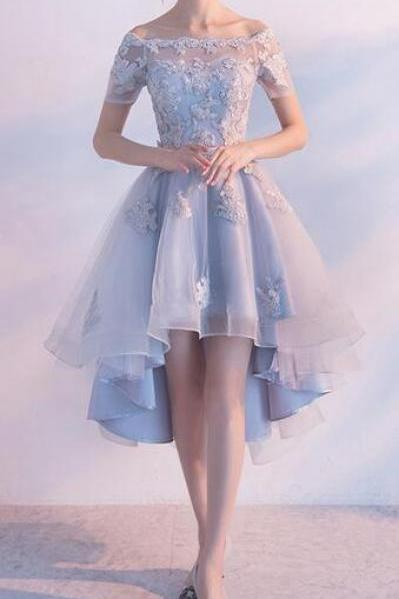 off shoulder Homecoming dresses,Blue Prom Dress,high low bridesmaid dress,lace prom dress,short bridesmaid dress,Sweet 16 Dress,Short Homecoming Dresses,Homecoming Dress,bridesmaid dress