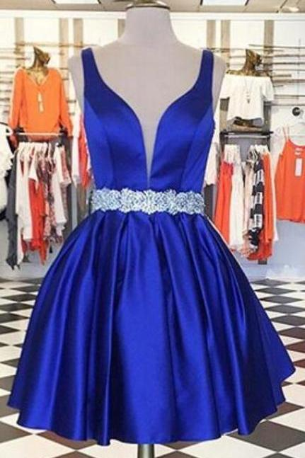 Roral Blue Homecoming Dress,Stain Homecoming ,Sexy Homecoming Dresses,A Line Homecoming Dress,Girls Cocktail Dresses,Short Prom Dresses,Beaded Homecoming Dress,2018 Homecoming Dresses